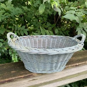 Vintage Painted Gray Handled Woven Basket Fruit
